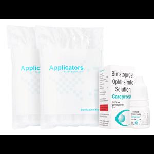 ケアプロスト0.03% 3ml 1本 + まつ毛用アプリケータ 2袋 / Careprost0.03% 3ml 1 bottle + Applicators 2 units