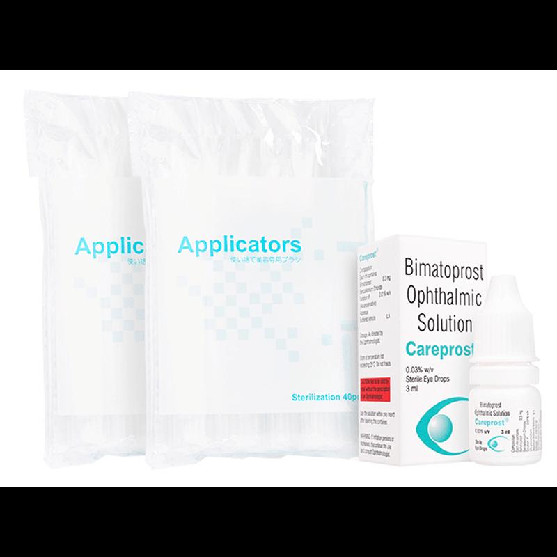 ケアプロスト0.03% 3ml 3本 + まつ毛用アプリケータ 6袋 / Careprost0.03% 3ml 3 bottles + Applicators 6 units